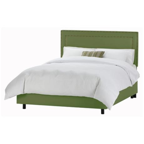 Nail Button Border Headboard Jungle Twill Bed (Queen)