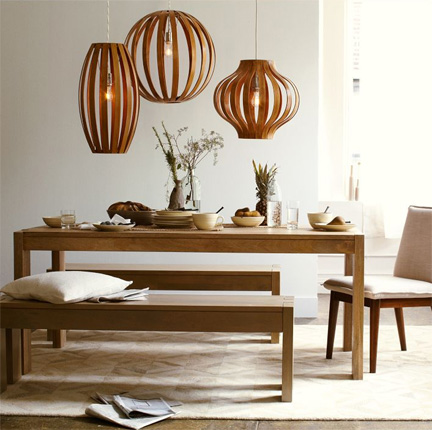 Bentwood pendant lights from West Elm.