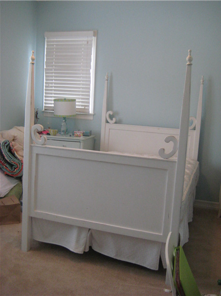 Girl's white four poster bed in beautiful condition in Austin, TX, via Red Chair Market.