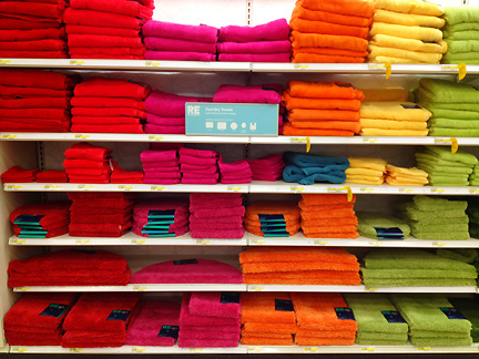 Colorful towels in every shade of the rainbow, at Target.