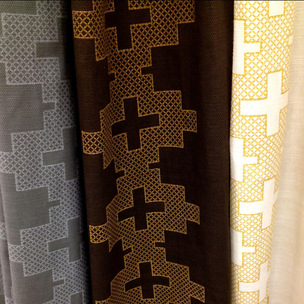 Cross themed modern curtains in gray, brown or cream, by Nate Berkus at Target.