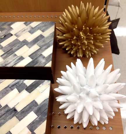 A modern take on the sea urchin. Decorative accessories in white and gold by Nate Berkus, at Target.