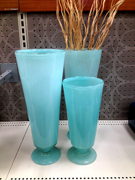 Sea glass turquoise blue vases from Target.