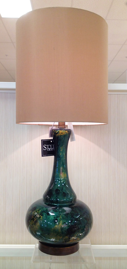 Tall green table lamp--very mid-century--at Home Goods in Austin.