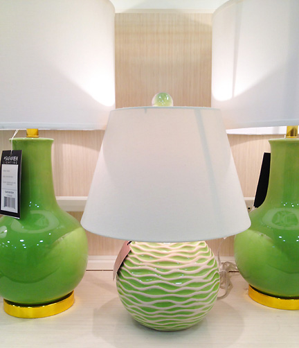 A selection of modern green lamps at Home Goods in Austin, TX.