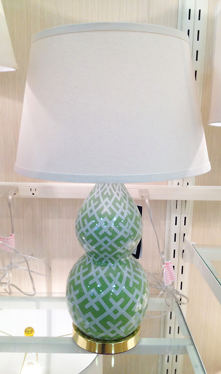 This green table lamp at Home Goods in Austin, TX features a trellis design on its base.