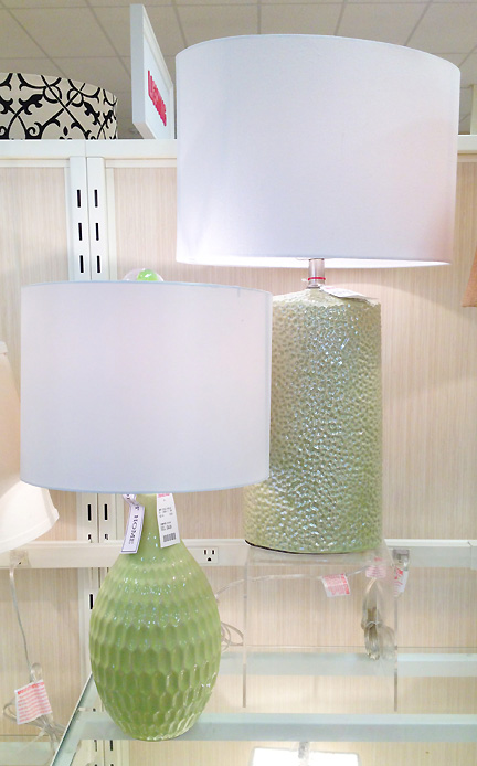 Modern mint green table lamps from Home Goods in Austin, TX.