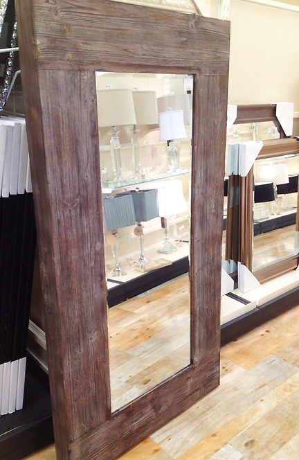 Rustic modern wood floor mirror at Home Goods in Austin, TX.