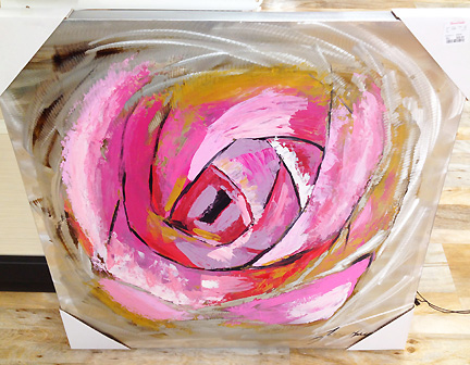 Fun, industrial chic modern wall art featuring a rose motif on aluminum looking canvas. At Home Goods in Austin, TX.