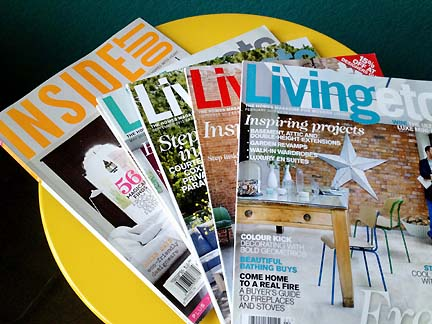 Australia's Inside Out and the UK's Livingetc magazines, full of home decor inspiration.