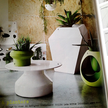 Mod outdoor planters featured in Australia's Inside Out home decor magazine.