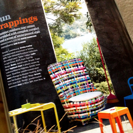 An adorable, woven and colorful outdoor chair, featured in Australia's Inside Out magazine.