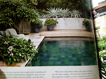 This pool, featured in Australia's Inside Out home decor magazine, is tiled in a pixelated pattern.
