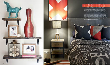 This gray grey masculine bedroom is featured in the Feb/Mar 2013 issue of Australia's online home decor magazine, Adore.