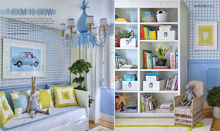 This baby blue and citron apple green boy's bedroom was featured in the Feb/Mar 2013 issue of Australia's online home decor magazine, Adore and showcases bookshelves and a funky blue chandelier.