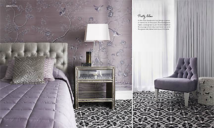 This modern and feminine lavender bedroom is featured in the Feb/Mar 2013 issue of Australia's online home decor magazine, Adore.