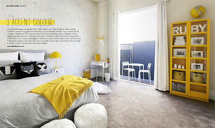 A gray and yellow modern bedroom featured in the Feb/Mar 2013 issue of Australia's online home decor magazine, Adore.