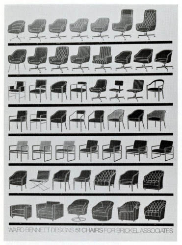 Mid-century modern chairs designed by Ward Bennett for Brickel Associates.