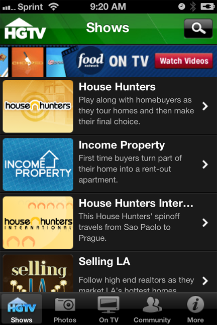 HGTV's To Go app for iPhone and iPad allows you to watch your favorite HGTV shows from your mobile device.