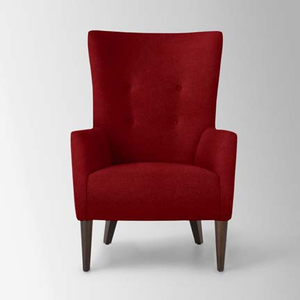 West Elm Victor Chair - buttoned modern mid-century and RED.