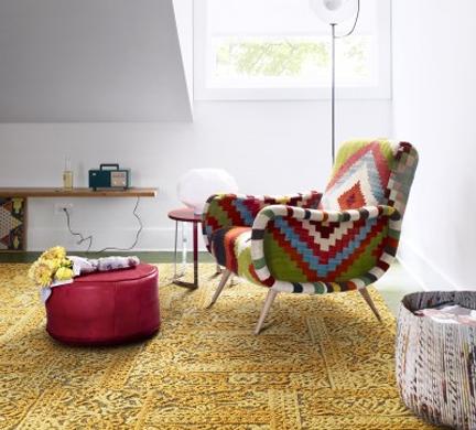 FLOR chenille charade modern carpet tile gold rug.