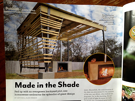 This open porch design was featured in the spring 2013 issue of Austin Home Magazine.