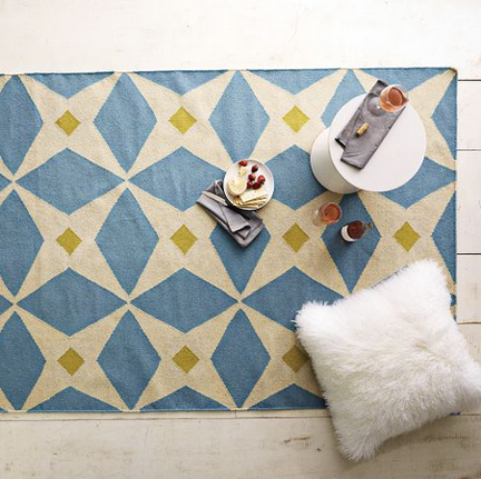 West Elm modern wool dhurrie rug with a blue background, white star shapes and gold squares.