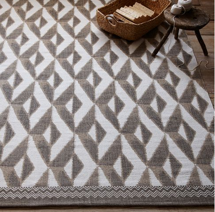 West Elm wool dhurrie white and gray modern printed geometric rug.