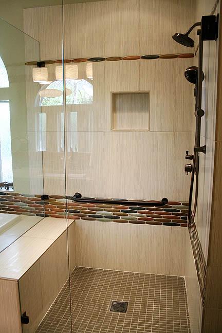 Mid century modern master bathroom shower glass mosaic tile