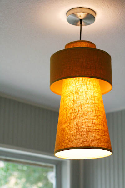 Yellow gold retro pendant light fixture