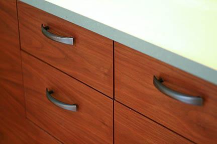 teak walnut custom modern bathroom vanity green quartz countertops