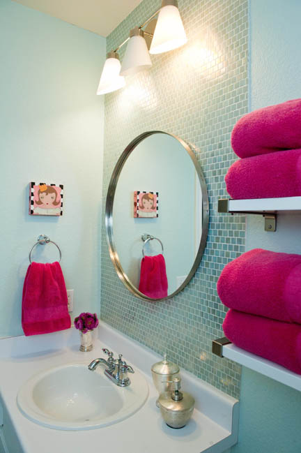 Spa bathroom featuring aqua light blue iridescent backsplash tile