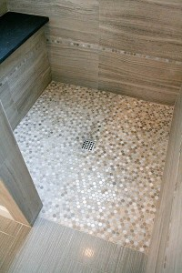 Marble penny tile shower floor