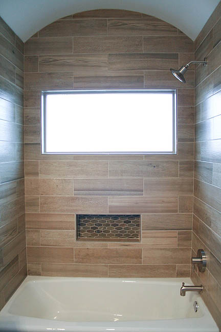 Modern Rustic Slate And Teak Guest Bathroom Austin