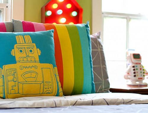 Robot and Space Theme Mashup Kid's Bedroom