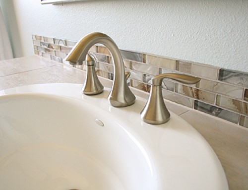 Agate Glass Tile, Amid Gray and Beige Bathroom Remodel