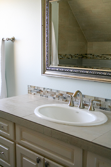 If Plumbing Problems Have Created An Opportunity For You To Remodel Your Own Bathroom, Room Fu Designers Can Help Select Just The Right Finishes Suit Bathroom Vanity Glass Tile Backsplash