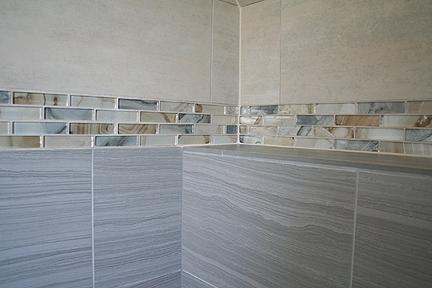 agate glass tile bathroom remodel - austin interior design