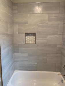 Austin Interior Decorating Bathroom Remodel Modern Gray Tile Tub Shower Niche
