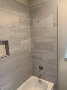 Austin Interior Design Bathroom Remodel Modern Gray Tub Surround