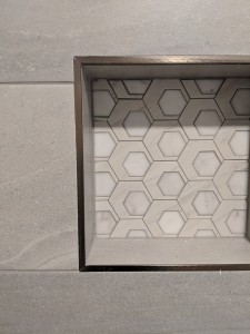 Austin Interior Design Gray Blue Mid Century Tile Shower Niche Geometric
