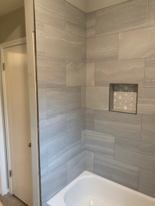 Interior Design Austin Bathroom Remodel Modern Gray Tile Tub Surround