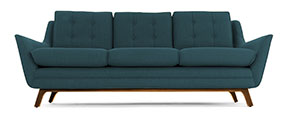 teal mid-century sofa from Joybird called the Eastwood pictured in teal fabric